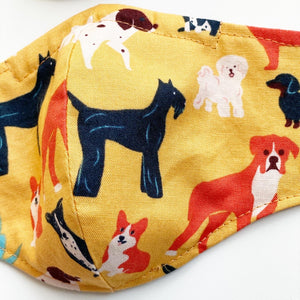 Deluxe Reversible Fitted Mask - Dogs & Bikes