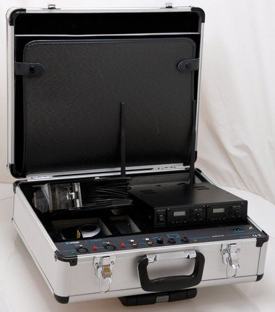 P-Loop2 Flight case open to show integrated room hearing loop amplifier and  FM receiver Module