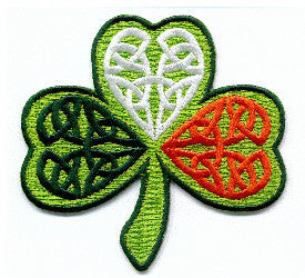 Embroidered Patches EB64 Shamrock Celtic tricolour