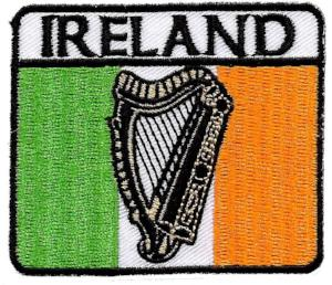Embroidered Patch EB72 Ireland Tricolour Harp