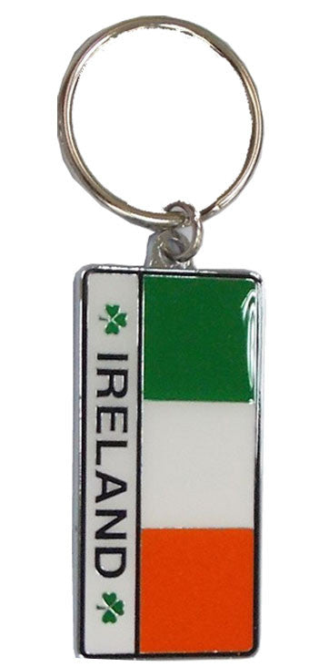 KR08 Ireland Tricolour Rectangle Keyring