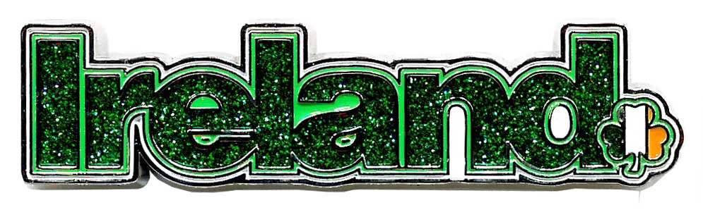Metal Magnet MM032 Ireland Text Glitter