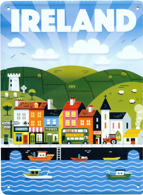 Vintage Wall Signs Of Irland MWS001 Ireland Town