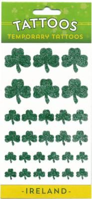 Temporary Tattoo TAT001 Multi Shamrock Glitter