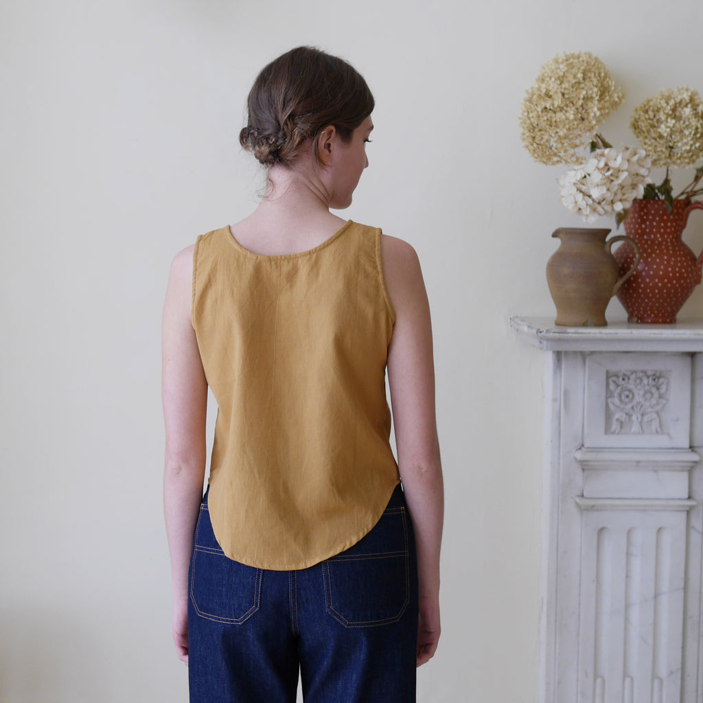Sleeveless Top with Buttons - Mustard | Gifts for Her