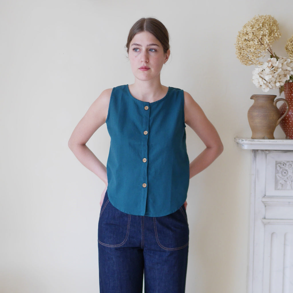 Sleeveless Top with Buttons - Teal  | Gifts for Her
