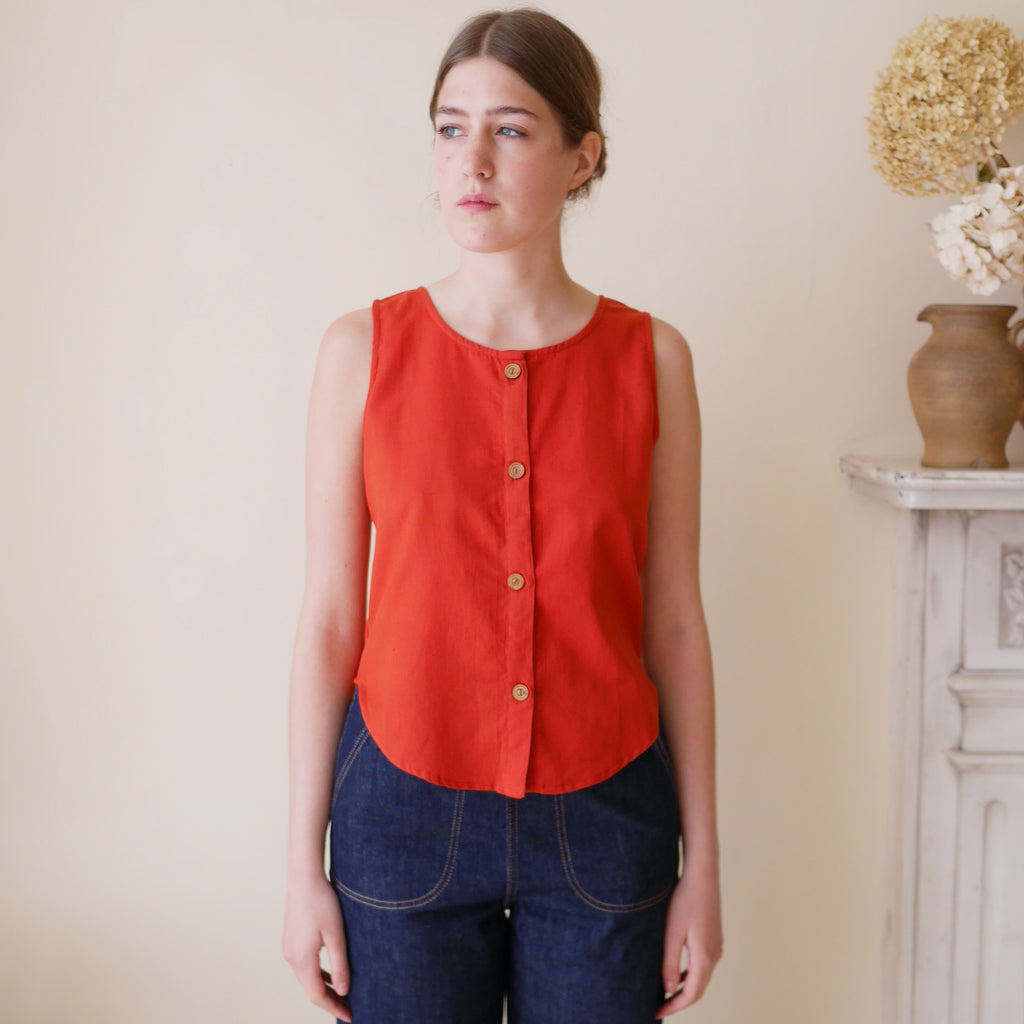 Sleeveless Top with Buttons - Tomato Red | Gifts for Her