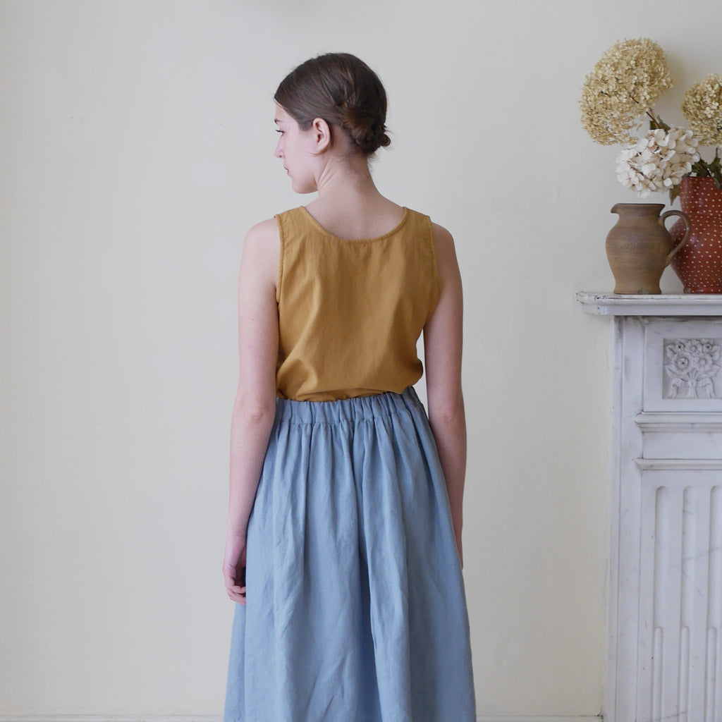 High Waisted Midi Linen Skirt - Dusky Teal | Gifts for Her