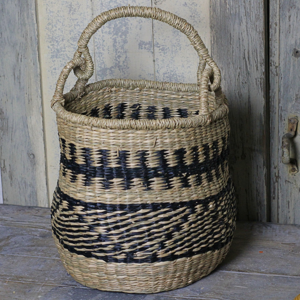 Seagrass Basket - Black Weave - Homeware Store