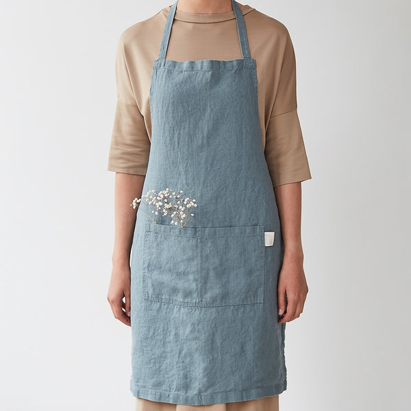 Washed Linen Apron, Dusty Blue