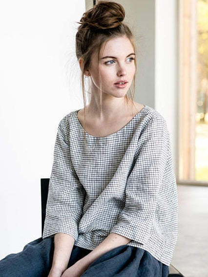 Linen Boatneck Top, Checks - closetandbotts