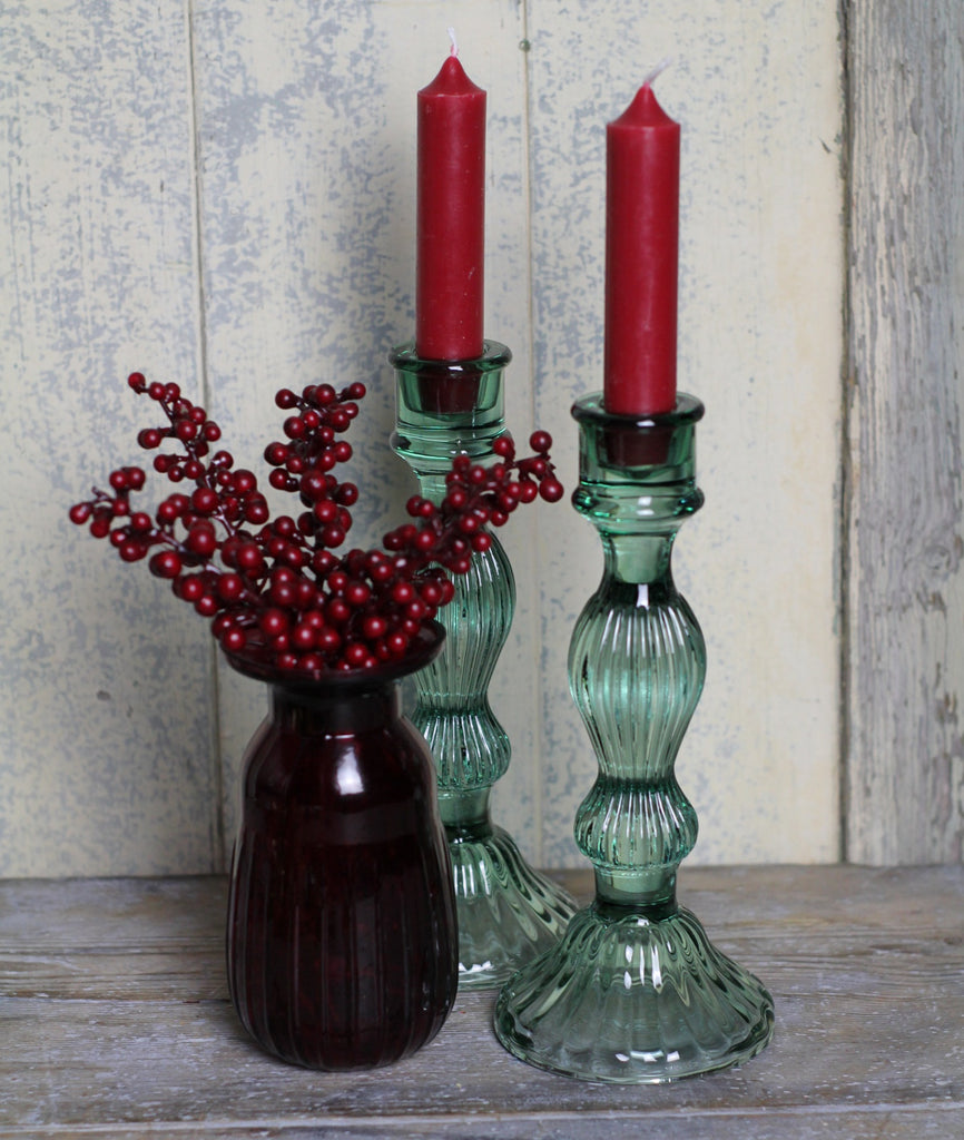 Green Glass Candlestick - Tall