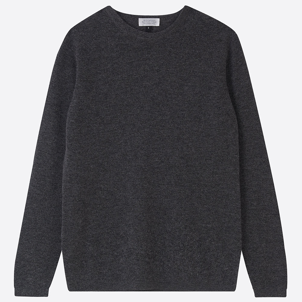 Pure Cashmere crew neck Jumper, Charcoal - Closet & Botts