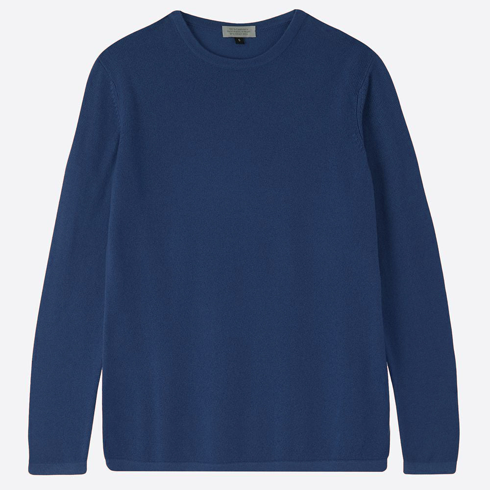 Pure Cashmere Crew neck jumper, Petrol - Closet & Botts