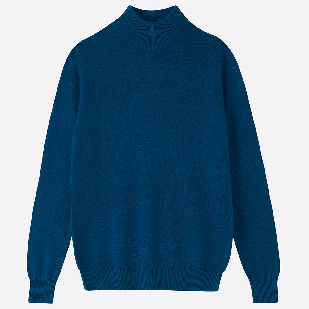 Pure Cashmere Mock Neck Jumper - Petrol - Closet & Botts