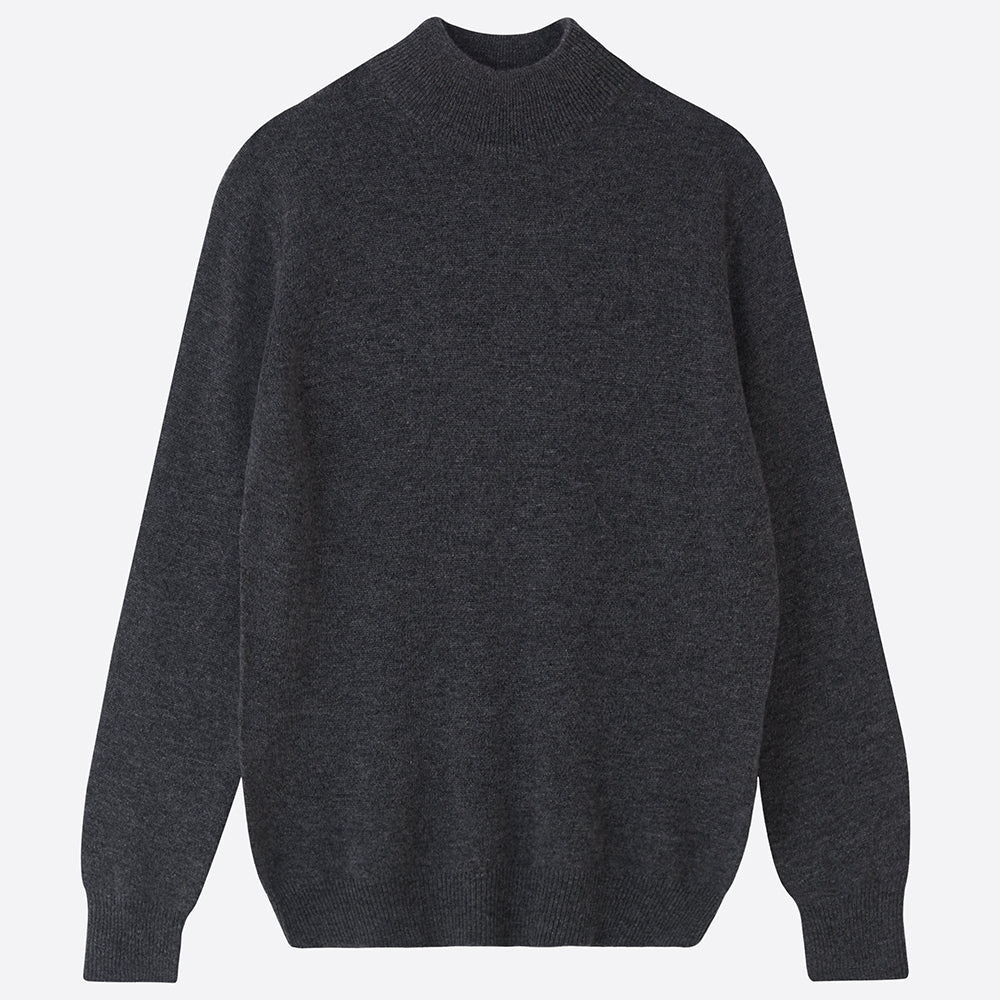 Pure Cashmere Mock Neck Jumper - Charcoal - Closet & Botts