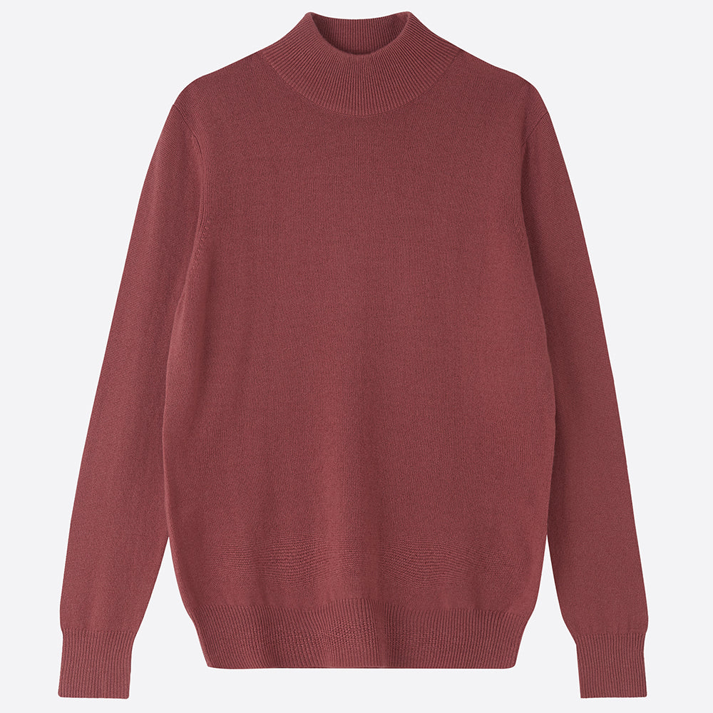Pure Cashmere Mock Neck Jumper - Rosewood - Homeware Store
