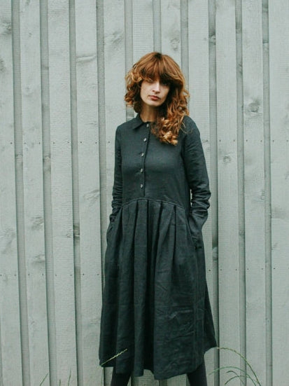 Long Sleeved Linen Dress, Charcoal