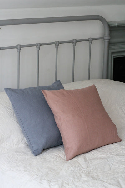 Washed Linen Cushion, Dusty Blue