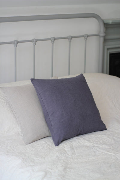 Washed Linen Cushion, Charcoal Grey