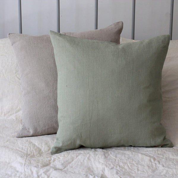 Washed Linen Cushion, Sage