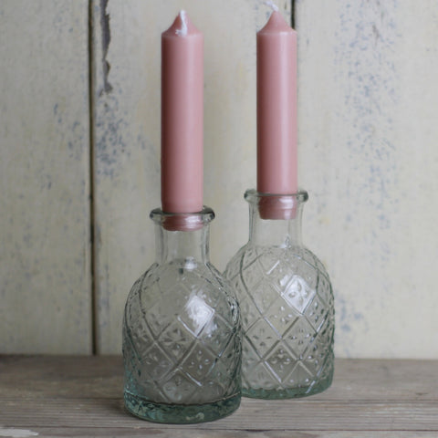 Embossed Glass Bottle Candle Holder