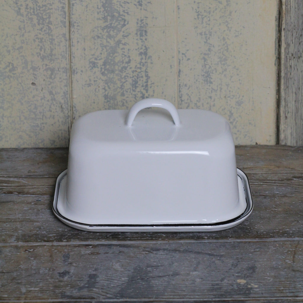 White Enamel Butter Dish with lid | Homeware Store