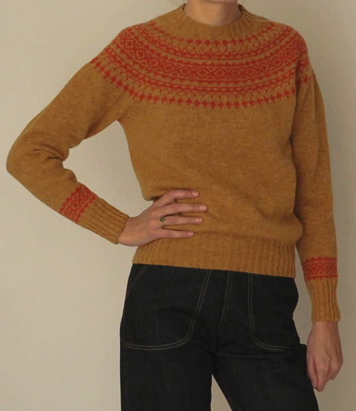 Fair Isle Yolk Jumper, Mustard & Rust