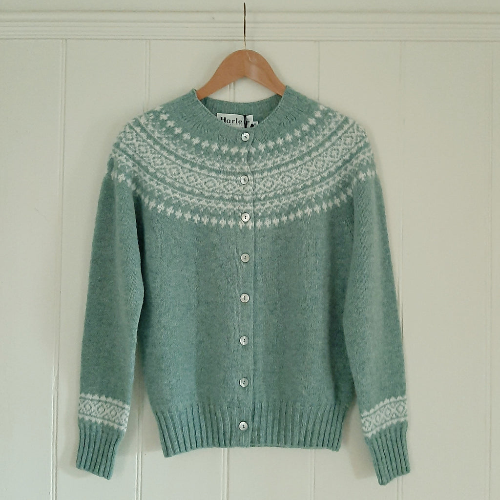 Fair Isle Crew Neck Cardigan - Duck Egg - [product_Option1 Value] - Homeware Store