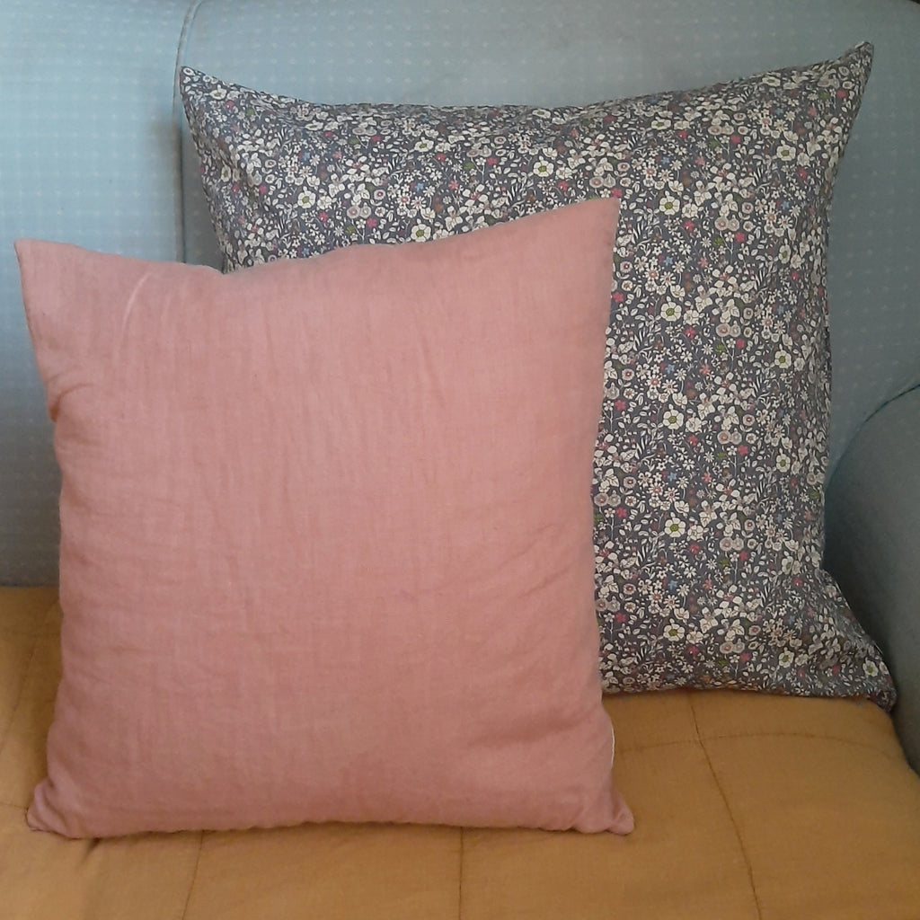 Large Floral Print Cushion, Dusky Blue
