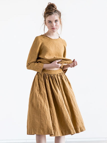 Linen Gathered Skirt, Amber - closetandbotts
