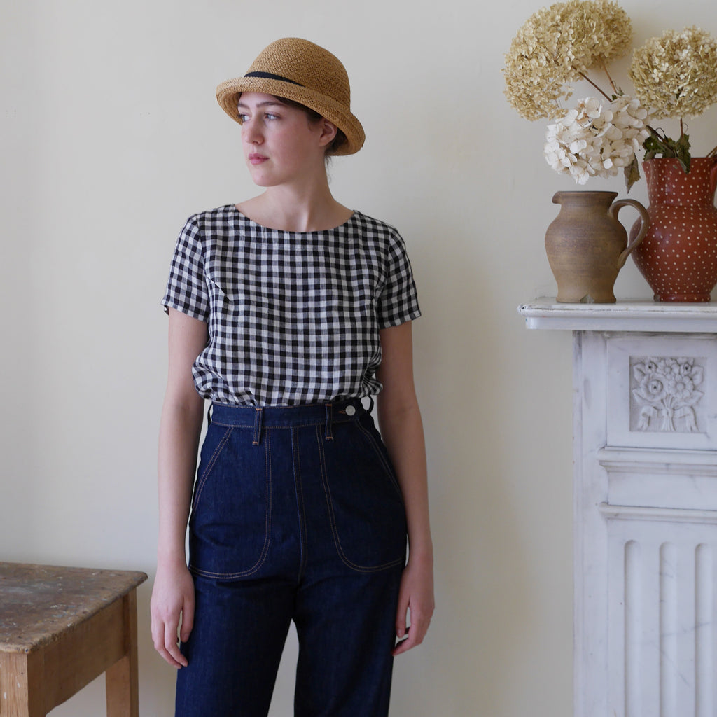 Lightweight Linen Top - Gingham | Gifts for Her