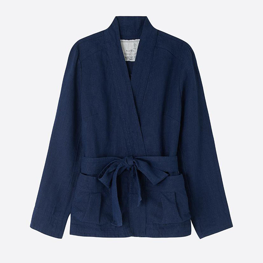 Heavy Linen Wrap Jacket, Navy - closetandbotts