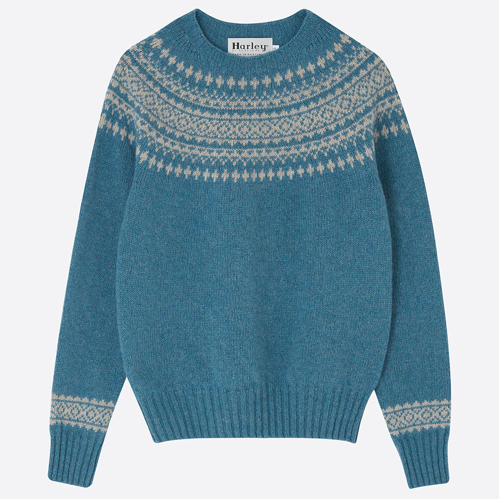 Fair Isle Yolk Jumper, Teal - closetandbotts