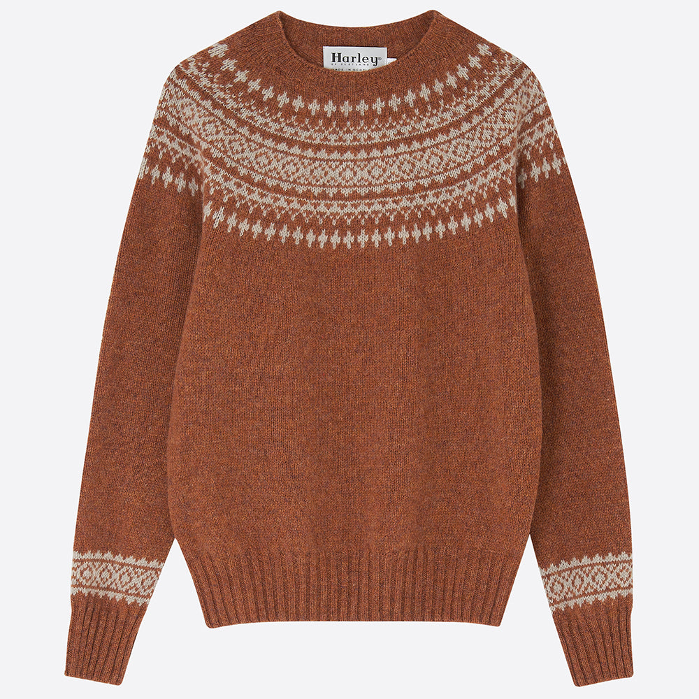 Fair Isle Yolk Jumper, Sienna - closetandbotts