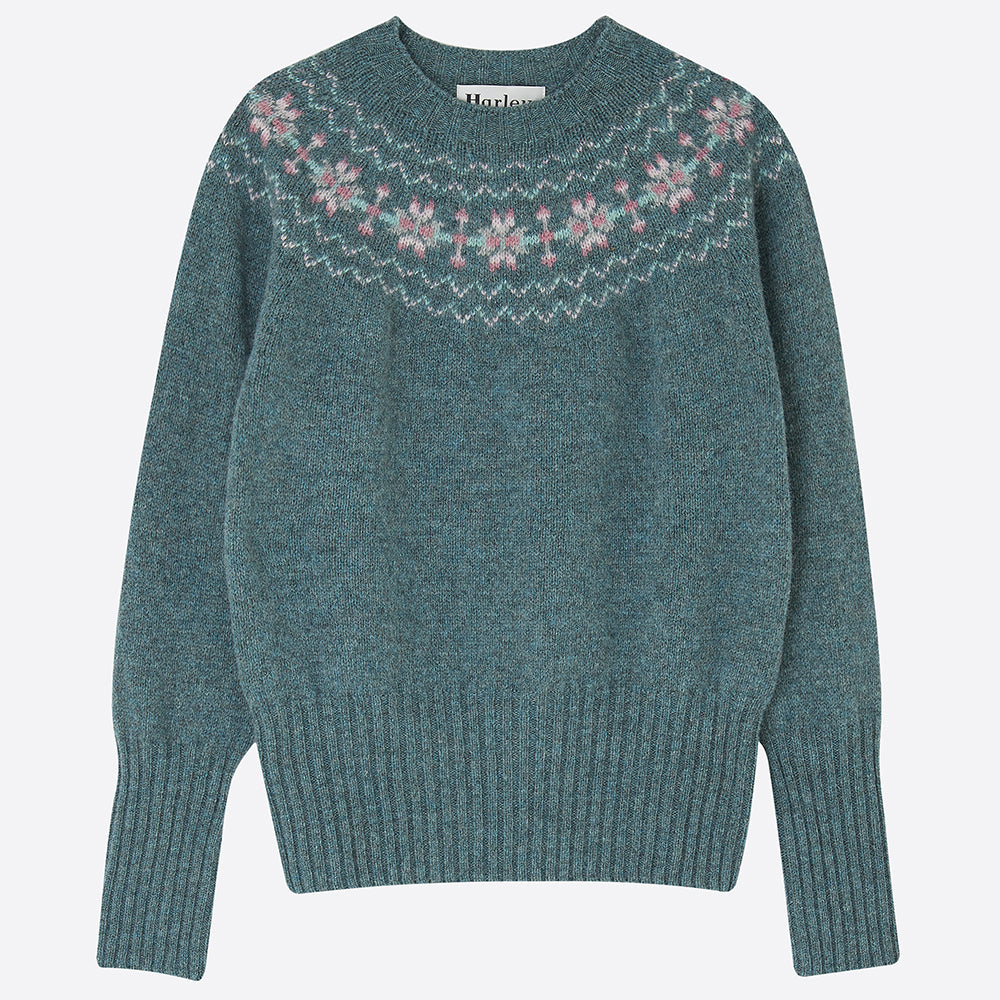 Fair Isle Crew Neck Jumper, Dusty Teal - closetandbotts