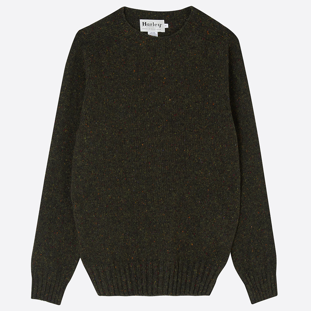 Men's Donegal Jumper, Dark Olive - Closet & Botts