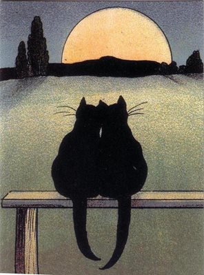 Cats in the moonlight, Valentines card, Anniversary card, Greeting card