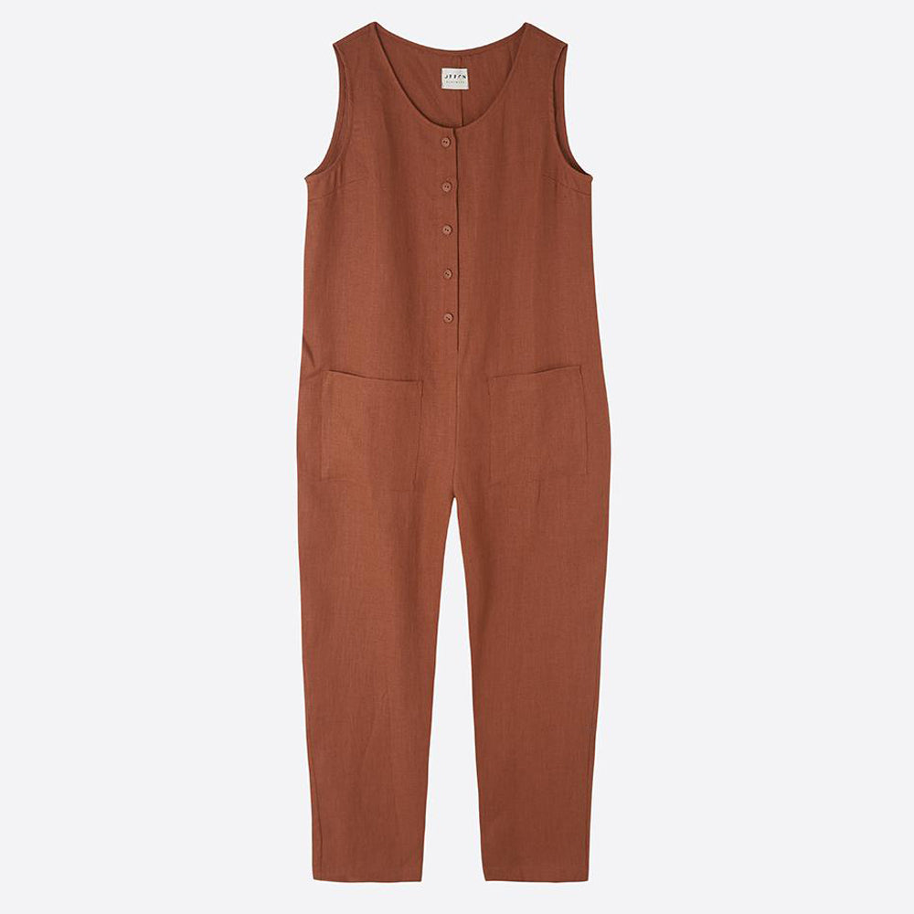 Linen Jumpsuit with Buttons, Redwood - Homeware Store