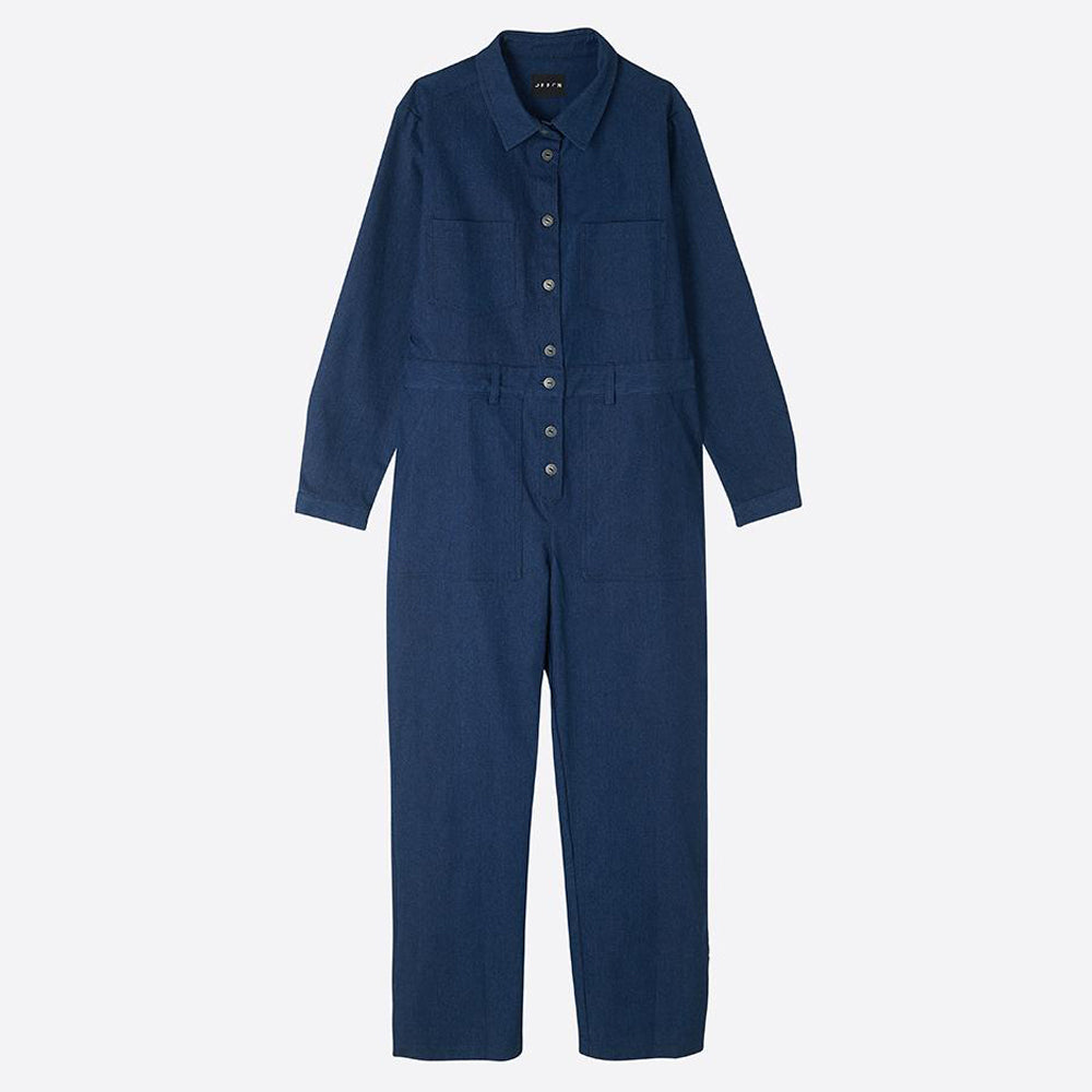 Long sleeved Denim Jumpsuit - closetandbotts