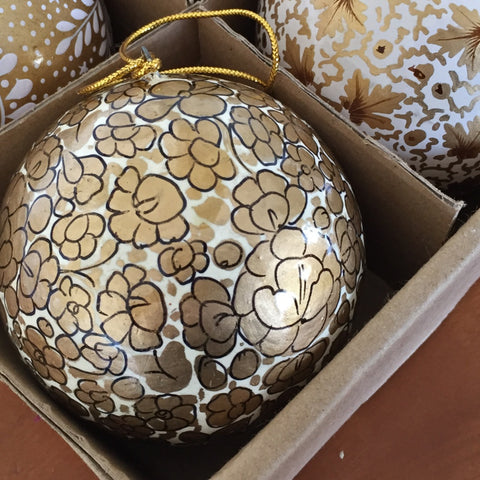 Hand painted Christmas bauble decoration, Gold Floral