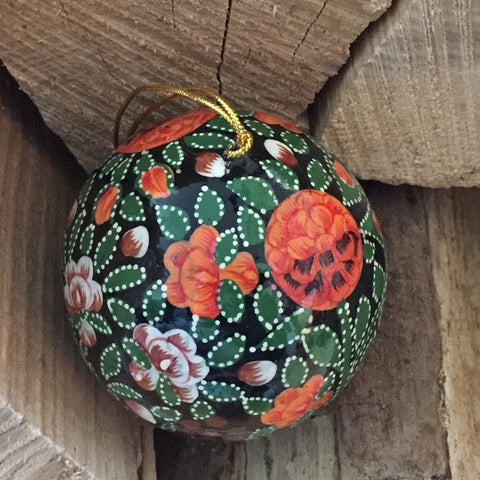 Hand painted christmas bauble decoration, Orange and Green leaf