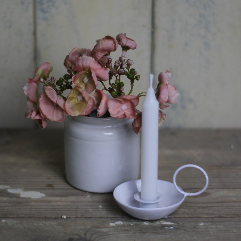 Miniature Enamel Candle Holder, White - closetandbotts