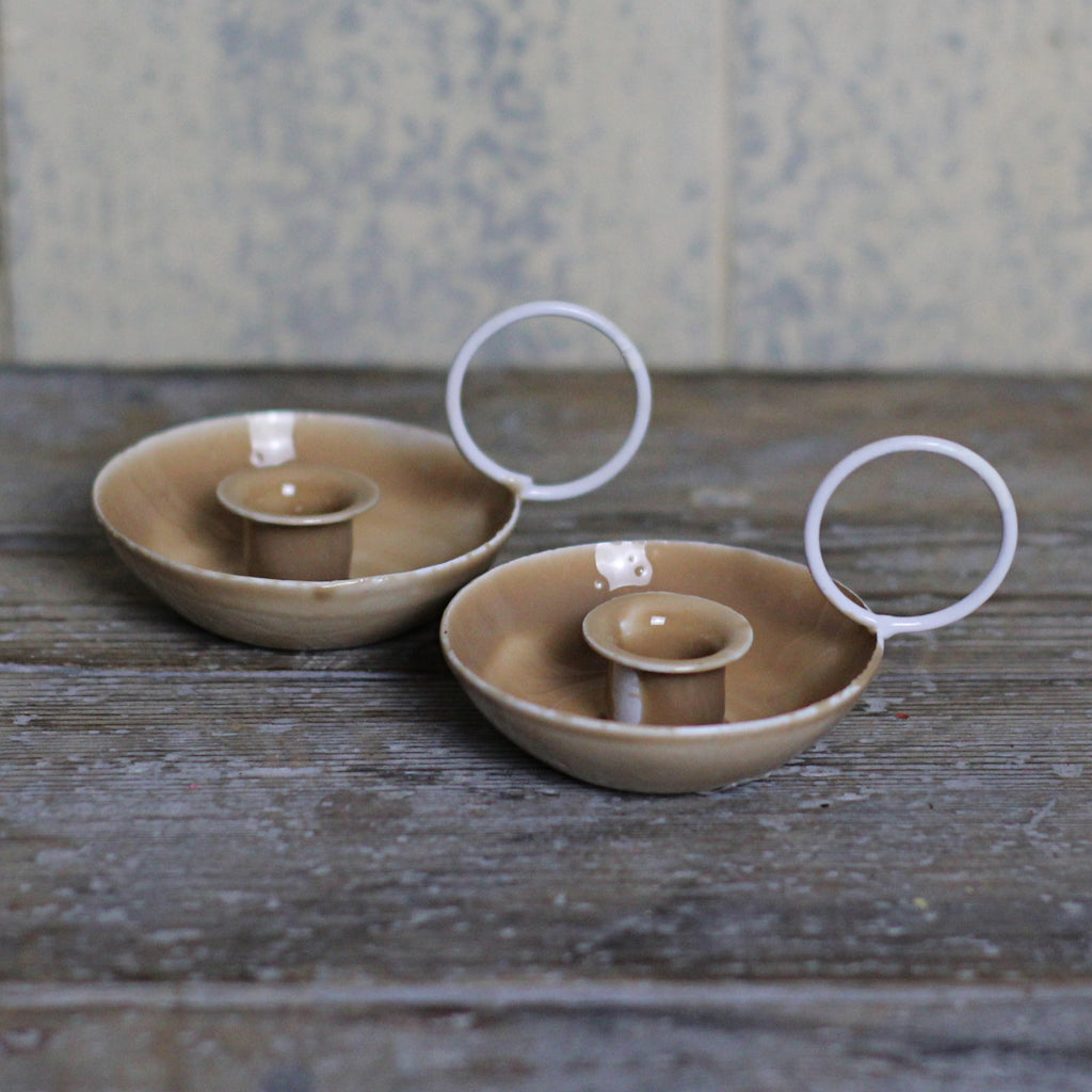 Miniature Enamel Candle Holder, Sand - Closet & Botts