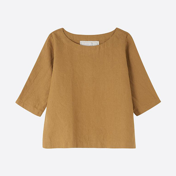 Linen Boatneck Top, Amber - Homeware Store