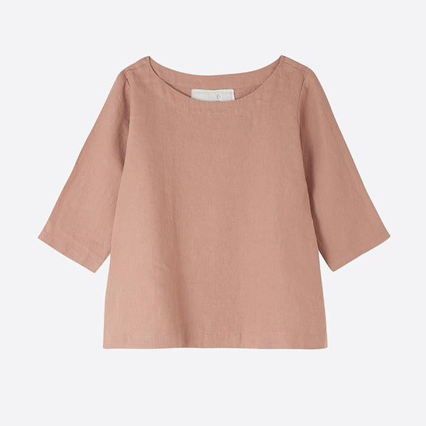 Linen Boatneck Top, Almost Apricot - closetandbotts