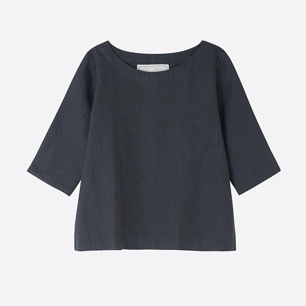 Linen Boatneck Top, Charcoal - Homeware Store
