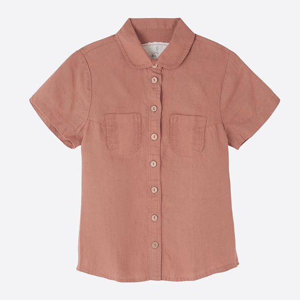 Short Sleeved Linen Blouse, Blush - closetandbotts