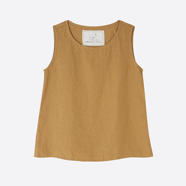 Linen Sleeveless Top, Amber