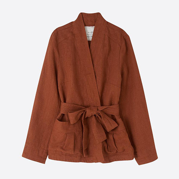 Heavy Linen Wrap Jacket, Redwood - closetandbotts